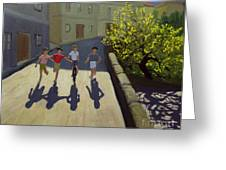 Children Running Greeting Card by Andrew Macara