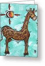 Childrens Nursery Art Original Giraffe Painting Playful By Madart Greeting Card by Megan Duncanson