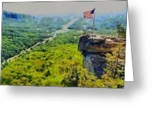 Chimney Rock Nc Greeting Card by Elizabeth Coats