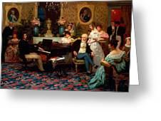 Chopin Playing the Piano in Prince Radziwills Salon Greeting Card by Hendrik Siemiradzki