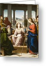 Christ Disputing With The Doctors In The Temple Greeting Card by Franz von Rohden