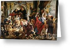 Christ Driving The Merchants From The Temple Greeting Card by Jacob Jordaens