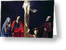 Christ on the Cross with the Virgin Mary Magdalene St John and St Francis of Paola Greeting Card by Nicolas Tournier