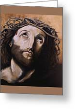 Christ With Crown Of Thorns Greeting Card by Laura Ury