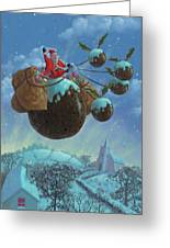 Christmas Pudding Santa Ride Greeting Card by Martin Davey