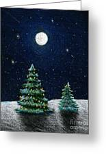 Christmas Trees In The Moonlight Greeting Card by Nancy Mueller