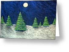 Christmas Trees In The Snow Greeting Card by Nancy Mueller
