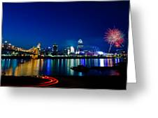 Cincinnati Boom Greeting Card by Keith Allen