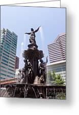 Cincinnati Fountain Tyler Davidson Genius Of Water Greeting Card by Paul Velgos