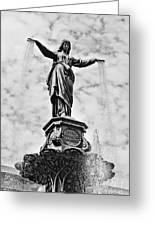 Cincinnati Fountain Tyler Davidson Genius Of Water Statue Greeting Card by Paul Velgos