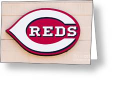 Cincinnati Reds Logo Sign Greeting Card by Paul Velgos