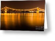 Cincinnati Roebling Bridge At Night Greeting Card by Paul Velgos