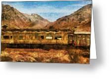 City - Arizona - Desert Train Greeting Card by Mike Savad
