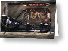 City - Ny South Street Seaport - Ship Carvers Greeting Card by Mike Savad