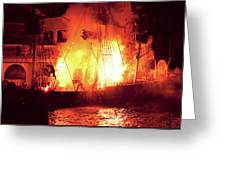 City - Vegas - Treasure Island - Explosion Abandon Ship Greeting Card by Mike Savad