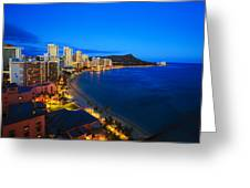 Classic Waikiki Nightime Greeting Card by Tomas del Amo - Printscapes
