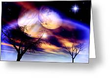 Clear Night Greeting Card by Dreamlight  Creations