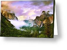 Clearing Storm Over Yosemite Valley Greeting Card by Edward Mendes