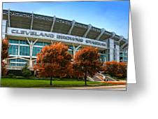 Cleveland Browns Stadium Greeting Card by Kenneth Krolikowski
