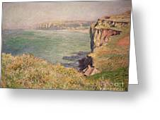Cliff At Varengeville Greeting Card by Claude Monet