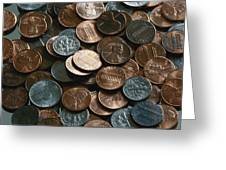 Close View Of United States Coins Greeting Card by Vlad Kharitonov