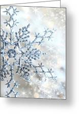 Closeup Of Snowflake Greeting Card by Sandra Cunningham