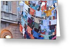 Clothes in the Street Greeting Card by Andre Goncalves
