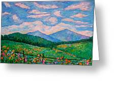 Cloud Swirl Over The Peaks Of Otter Greeting Card by Kendall Kessler