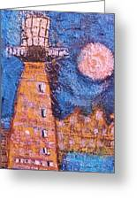 Cock-eyed Lighthouse Greeting Card by Anne-Elizabeth Whiteway