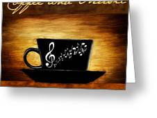 Coffee And Music Greeting Card by Lourry Legarde