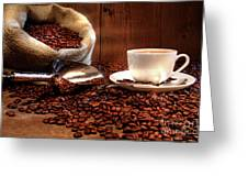 Coffee Cup With Burlap Sack Of Roasted Beans  Greeting Card by Sandra Cunningham