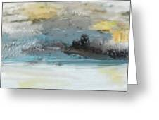 Cold Day Lakeside Abstract Landscape Greeting Card by David Lane