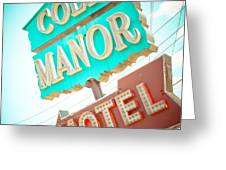 Cole Manor Motel Greeting Card by David Waldo
