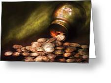 Collector - Coin - Treasure Quest Greeting Card by Mike Savad