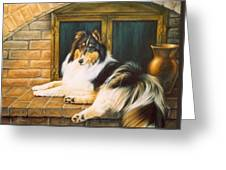 Collie On The Hearth Greeting Card by Karen Coombes