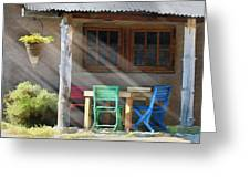 Colorful Chairs Greeting Card by Sharon Foster