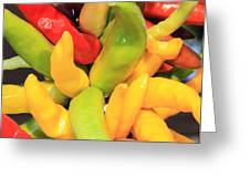 Colorful Chili Peppers  Greeting Card by Carol Groenen