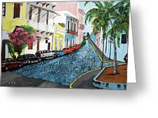 Colorful Old San Juan Greeting Card by Luis F Rodriguez