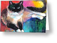 Colorful Ragdoll Cat Painting Greeting Card by Svetlana Novikova