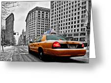 Colour Popped Nyc Cab In Front Of The Flat Iron Building  Greeting Card by John Farnan