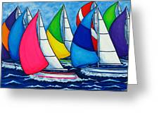 Colourful Regatta Greeting Card by Lisa  Lorenz