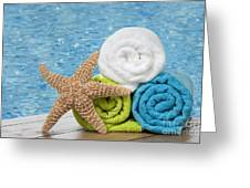 Colourful Towels Greeting Card by Amanda Elwell