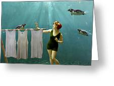 Come On Darlings It's Almost Dry Greeting Card by Martine Roch