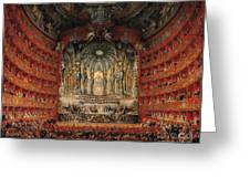 Concert Given By Cardinal De La Rochefoucauld At The Argentina Theatre In Rome Greeting Card by Giovanni Paolo Pannini or Panini