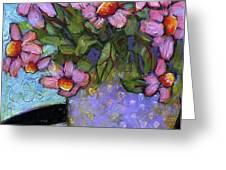 Coneflowers in Lavender Vase Greeting Card by Blenda Studio