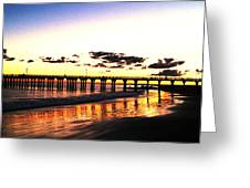 Coney Island Pier Sunset Greeting Card by Frank Winters