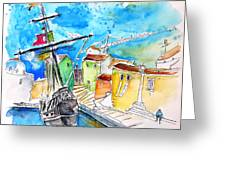 Conquistador Boat In Portugal Greeting Card by Miki De Goodaboom