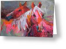 Contemporary Horses Painting Greeting Card by Svetlana Novikova