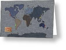 Continental Denim World Map Greeting Card by Michael Tompsett
