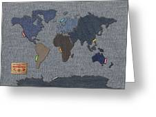 Continental Denim World Map Greeting Card by Michael Tompsett